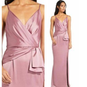 $199 ADRIANNA PAPELL Pink Satin Long Gown 12 M